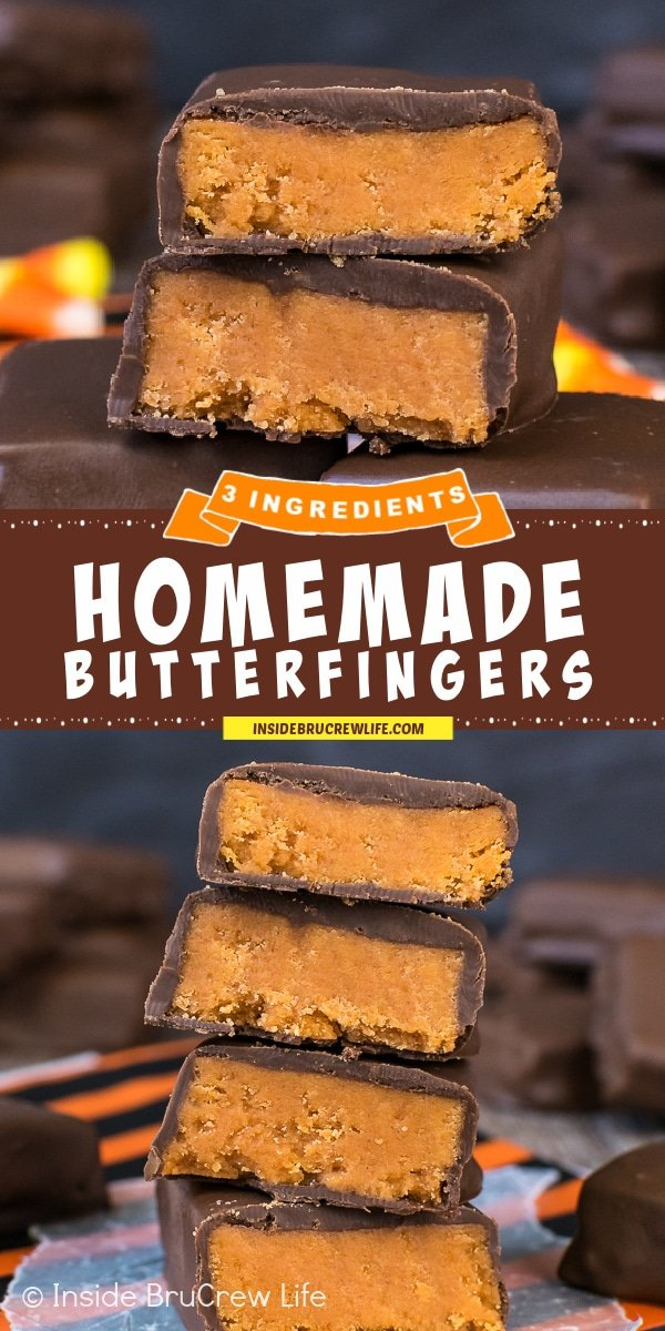 Two pictures of Homemade Butterfingers collaged together with a brown text box.