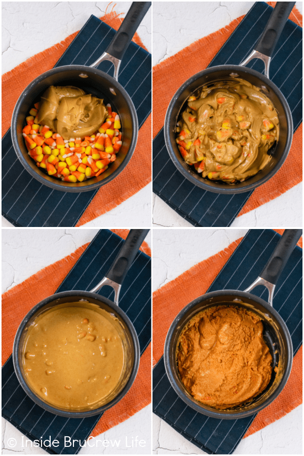 Four pictures collaged together showing the steps to making the Butterfinger mixture.