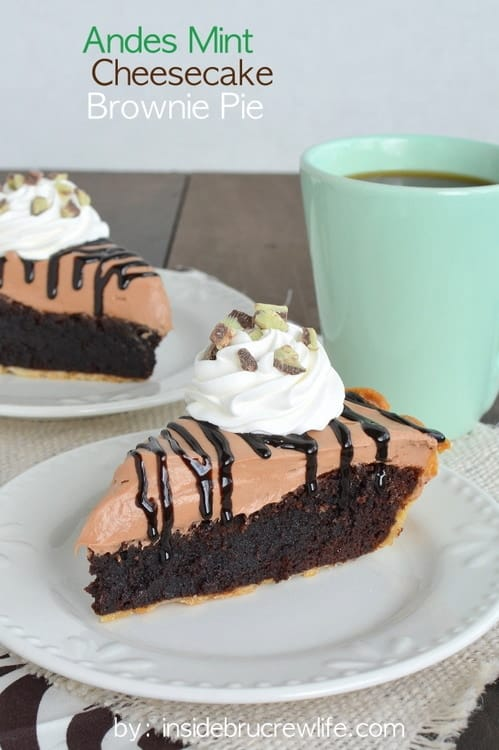 Andes Mint Cheesecake Brownie Pie