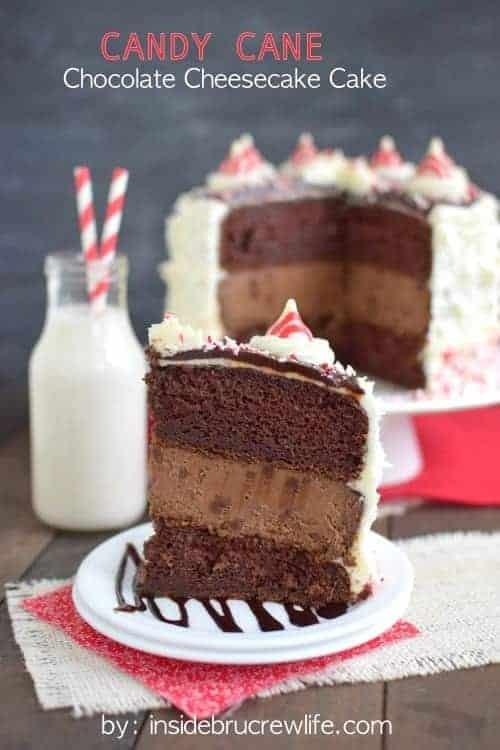Candy Cane Chocolate Cheesecake Cake