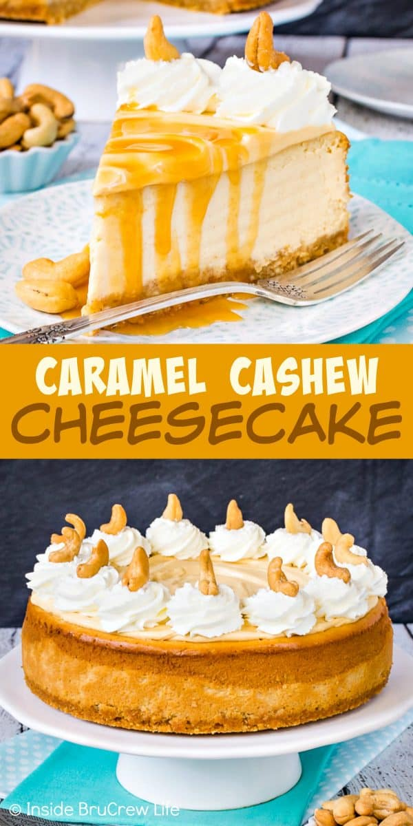 Caramel Cashew Cheesecake - the cashew crust, caramel cheesecake, and caramel cream makes this homemade dessert taste and look amazing! Try this recipe for parties and events! #cheesecake #caramel #homemadewhippedcream #recipe #cashews