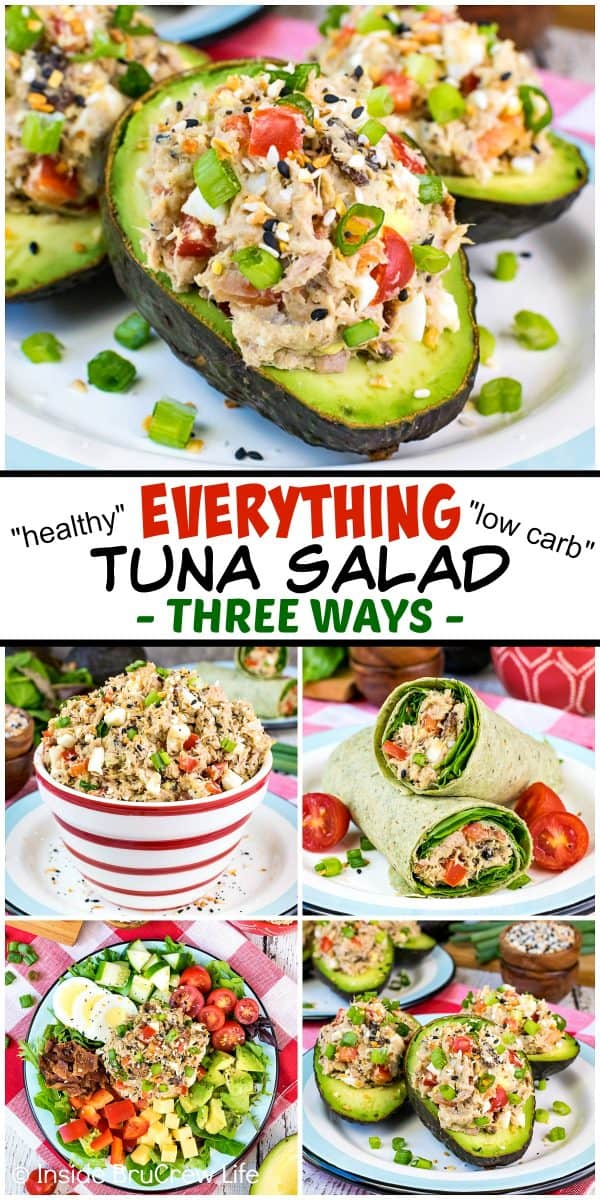 Everything Tuna Salad - this healthy tuna salad is made with Greek yogurt, avocado, and everything seasoning. Try this recipe in stuffed avocados, low carb wraps, or on a salad. #tunasalad #healthy #dinner #leanandgreen #everythingseasoning #avocado #salad #lowcarb