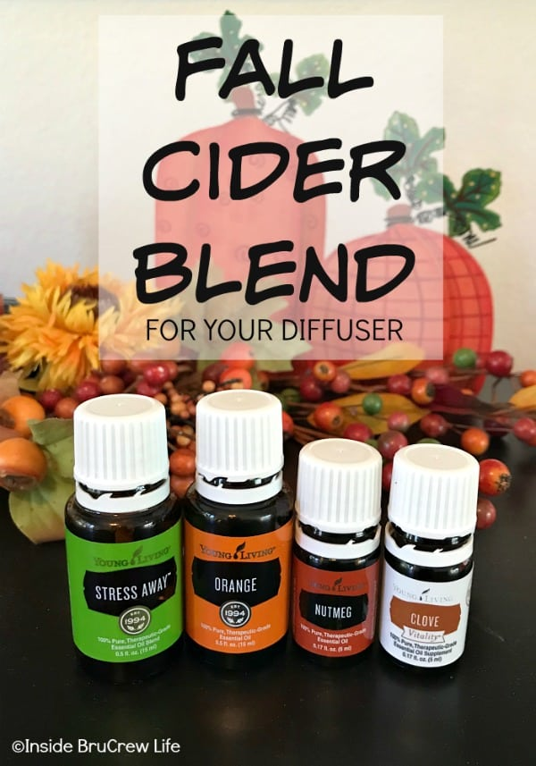 Fall Cider Blend for your Diffuser - mixing Stress Away, Orange, Nutmeg, and Clove makes the most delicious smelling cider smell for your home. #essentialoils #fallblend #youngliving #fallcider