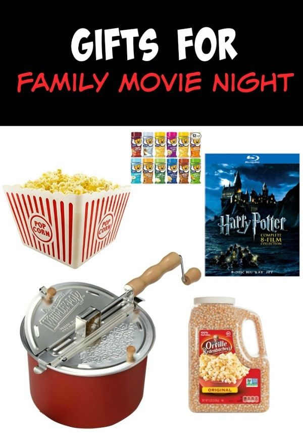 A collage of pictures of popcorn items and movies for a family movie night