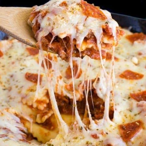 Meat Lover's Pizza Skillet Ravioli