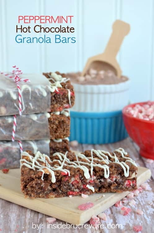 Peppermint Hot Chocolate Granola Bars