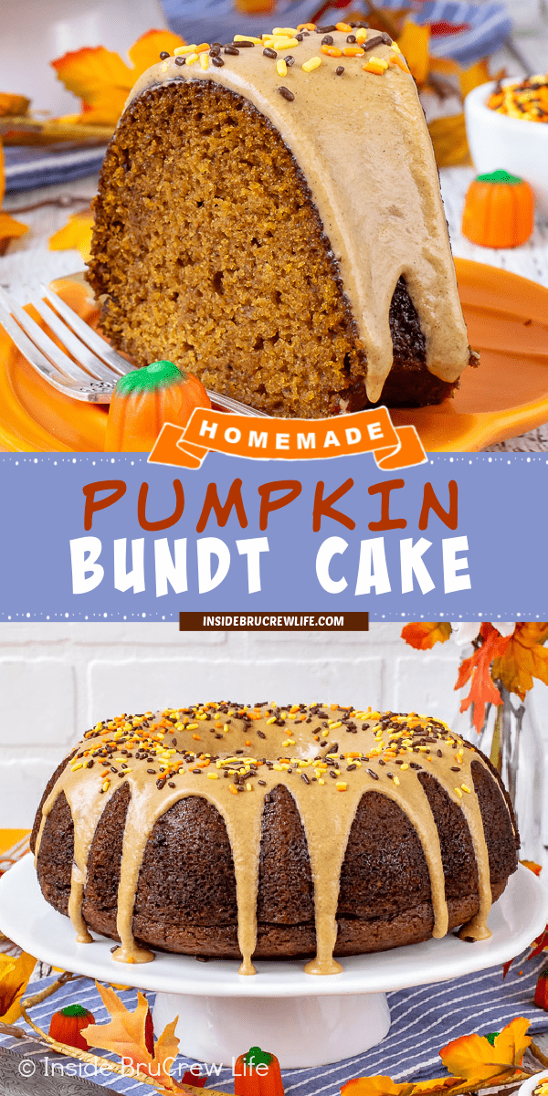 Two pictures of pumpkin bundt cake collaged together with a blue text box.