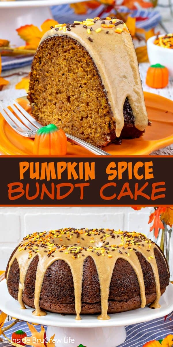 Pumpkin Spice Bundt Cake - this easy homemade pumpkin cake is full of warm rich fall spices and drizzled with a sweet cinnamon maple glaze that makes it taste and smell amazing! Try this easy recipe for fall dinners or parties! #bundtcake #dessert #fall #pumpkin #pumpkinspice #cake #thanksgiving