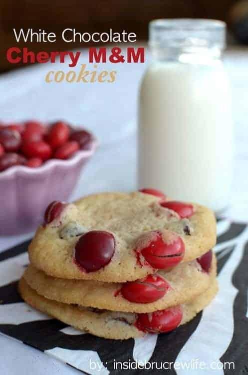 White Chocolate Cherry M&M Cookies