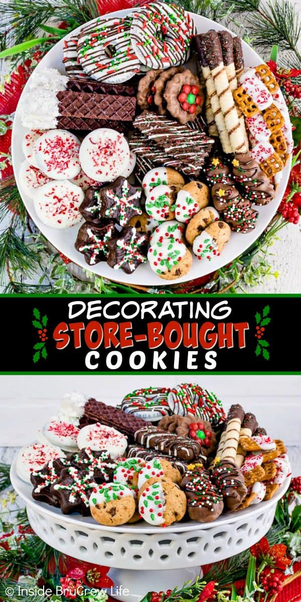 Decorating Store Bought Cookies - add chocolate and sprinkles to your favorite store bought cookies to make them pretty for holiday parties. Try these easy no bake treats when you do not have time to bake! #cookies #nobake #holiday #cookieexchange #easy