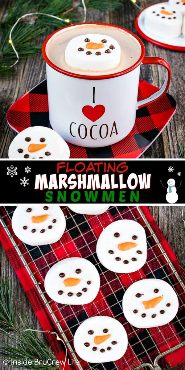 Floating Marshmallow Snowmen - use melted chocolate to make these simple and easy marshmallow snowmen to float in your winter drinks. Easy edible craft to make and give away with hot chocolate mix. #marshmallow #snowmen #hotchocolate #ediblecraft #easy #holiday