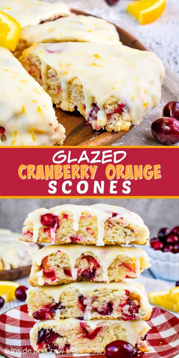 Glazed Cranberry Orange Scones - these soft, flaky scones are loaded with fresh cranberries and topped with an orange glaze. Such an easy and delicious recipe to make for breakfast or brunch! #scones #cranberry #orange #breakfast #holiday