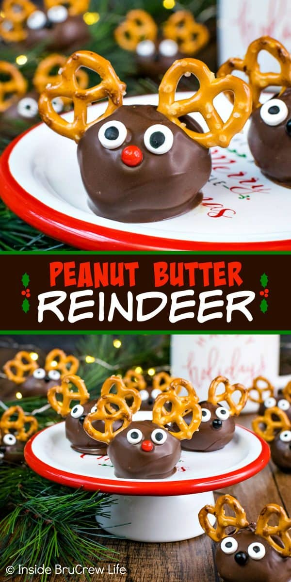 Peanut Butter Reindeer - adding mini pretzels and candy eyes to chocolate covered peanut butter balls makes the cutest reindeer treat. Easy no bake recipe to make when you do not have time to bake for holiday parties! #peanutbutter #truffles #chocolate #reindeer #christmas #nobake
