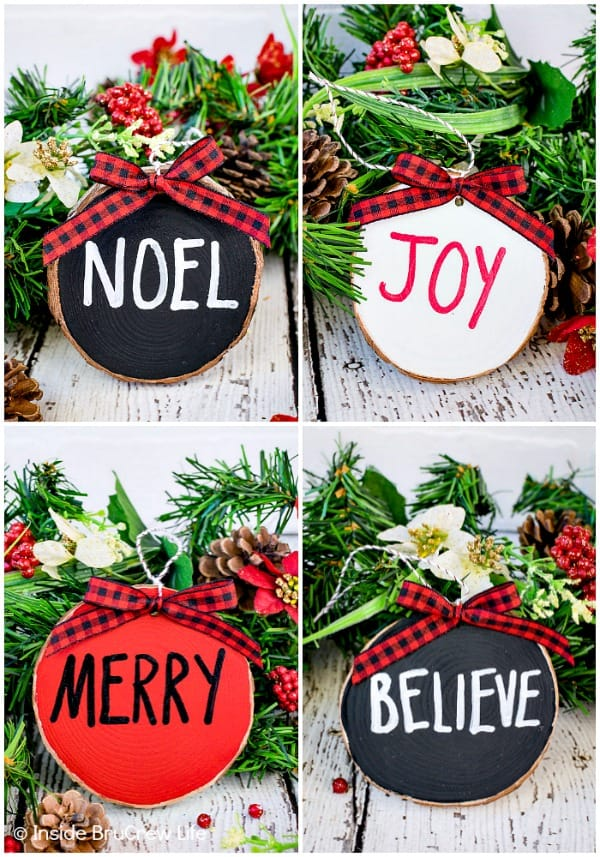 Rustic Wood Ornaments - make your own Rae Dunn inspired wood ornaments with red, white, and black paint. Make this easy craft for your holiday tree. #rustic #woodornaments #raedunninspired #farmhousedecor #woodcrafts #christmastreeornaments