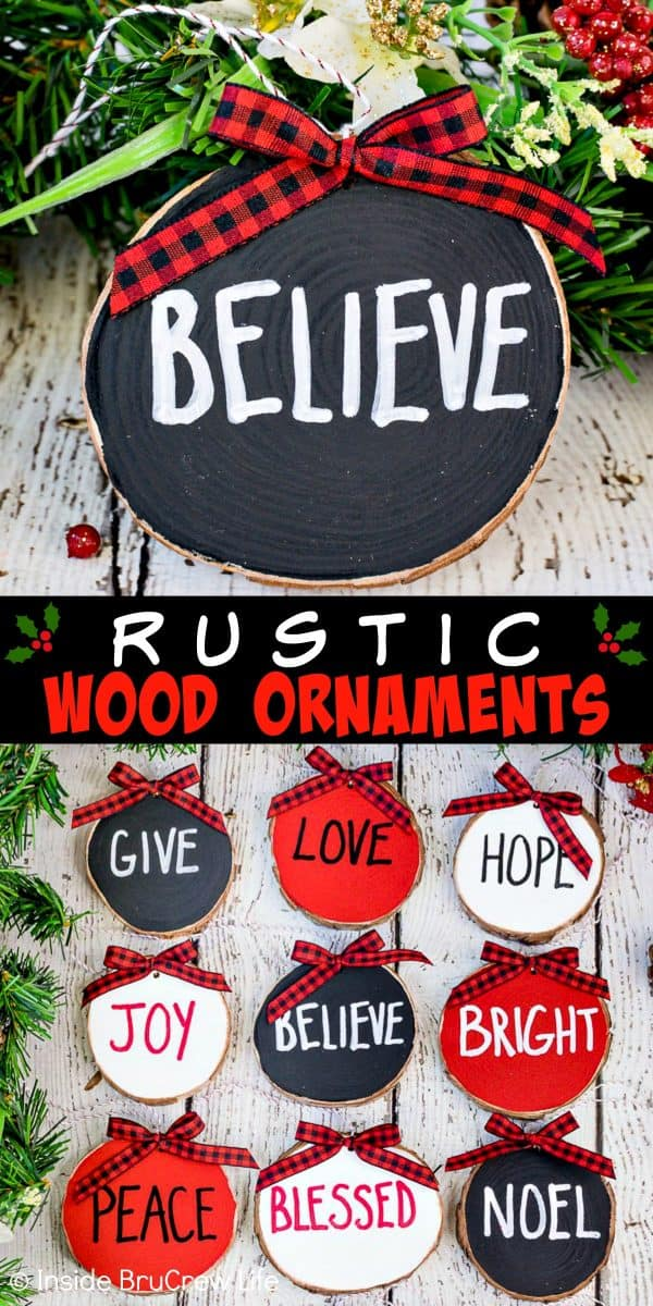 Rustic Wood Ornaments - these wood ornaments painted in red, white, and black are an easy holiday craft to make. Personalize your set of ornaments with the words of the season that you love. #rustic #woodornaments #raedunninspired #farmhousedecor #woodcrafts #christmastreeornaments