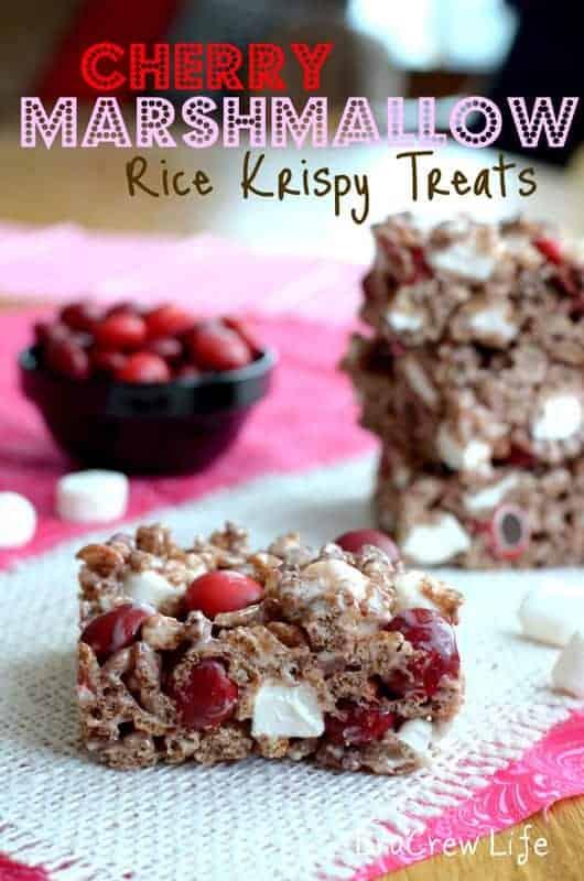 Cherry Marshmallow Rice Krispy Treats