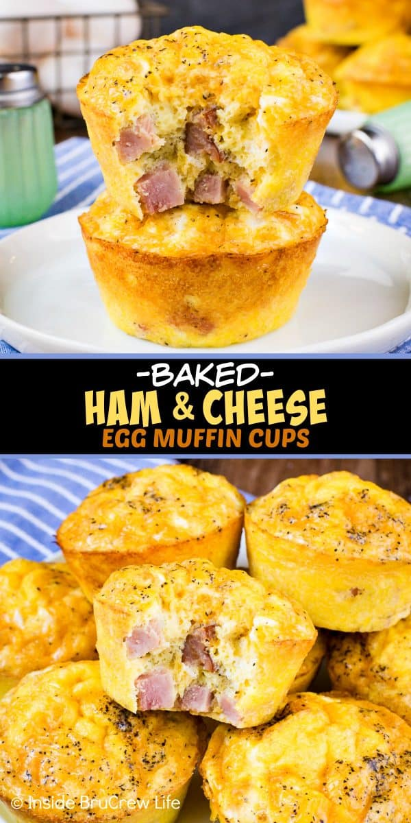 Baked Ham and Cheese Egg Muffins - these easy to make egg muffins make a delicious and healthy breakfast. Perfect recipe to make and freeze ahead of time! #breakfast #eggs #healthy #ketofriendly #eggmuffins #freezerfriendly