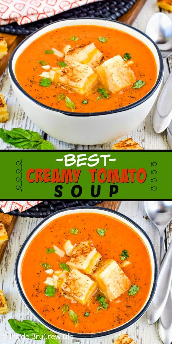 Two pictures of creamy tomato soup collaged together with a green text box