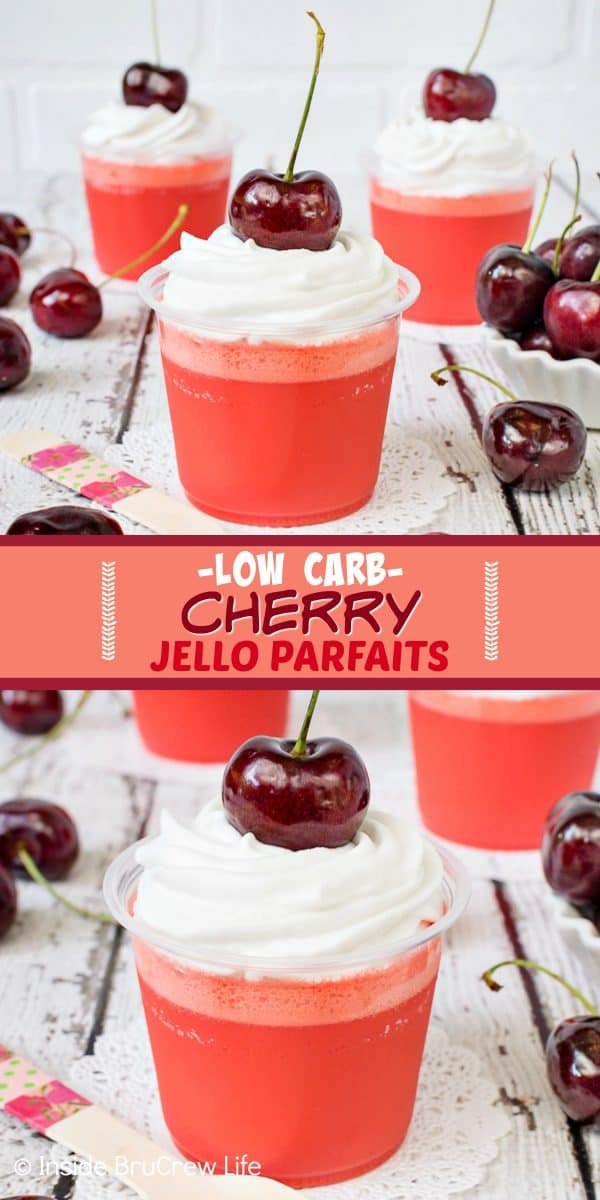 Low Carb Cherry Jello Parfaits - these two ingredients Jello cups are a great dessert to make and keep in your fridge. Easy to make, low carb, and sugar free makes these a great treat for any eating plan. #lowcarb #twoingredient #sugarfree #Jello #nobake #dessert