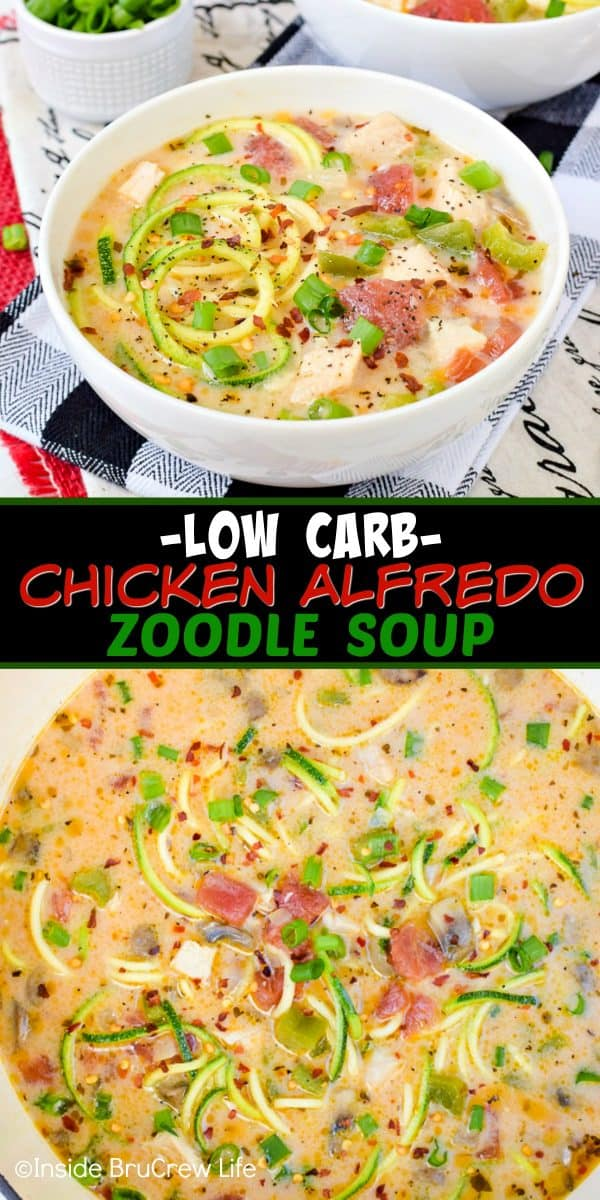 Low Carb Chicken Alfredo Zoodle Soup - this healthy chicken noodle soup is full of veggies and protein. Make this easy recipe for dinner in under 30 minutes! #chickenalfredo #chickennoodlesoup #zoodles #chickenzoodlesoup #lowcarb #ketofriendly #healthy #leanandgreen