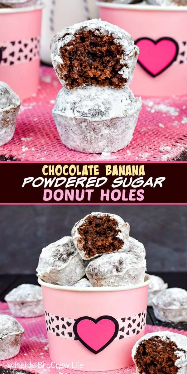 Chocolate Banana Powdered Sugar Donut Holes - these baked chocolate donuts are easy to make and can be ready to eat in 30 minutes. Try this banana recipe for breakfast or an after school snack! #breakfast #donutholes #bakeddonuts #donutmuffins #chocolate #banana #powderedsugardonuts