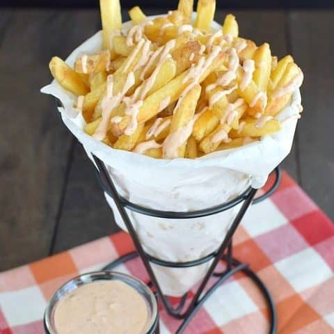 French Fries with Honey Chipotle Sauce
