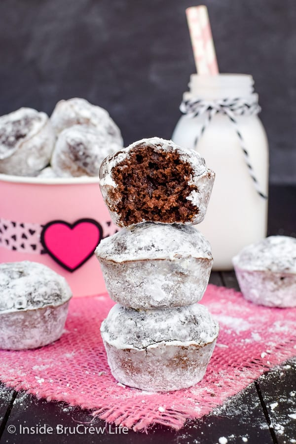 Chocolate Banana Powdered Sugar Donut Holes - these little baked chocolate donuts can be ready to eat in 30 minutes. Easy recipe to make for breakfast or an after school snack! #breakfast #donutholes #bakeddonuts #donutmuffins #chocolate #banana #powderedsugardonuts