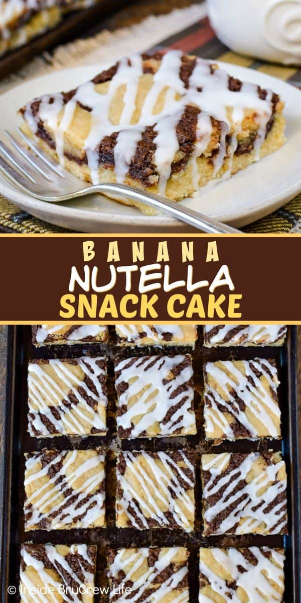 Banana Nutella Snack Cake - adding a Nutella cheesecake center and a sweet glaze on top makes this banana cake taste amazing! Make this easy recipe for breakfast or brunch events and watch it disappear! #bananacake #breakfast #brunch #Nutella #banana #egglessrecipe #eggfree