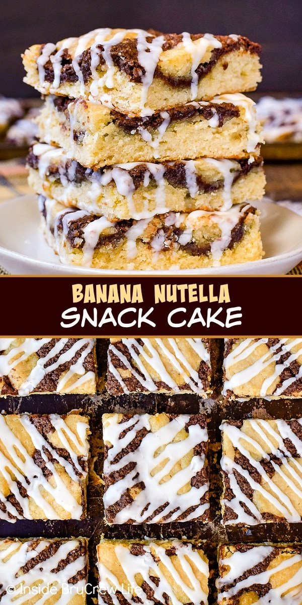 Two pictures of banana nutella snack cake collaged together with a brown text box