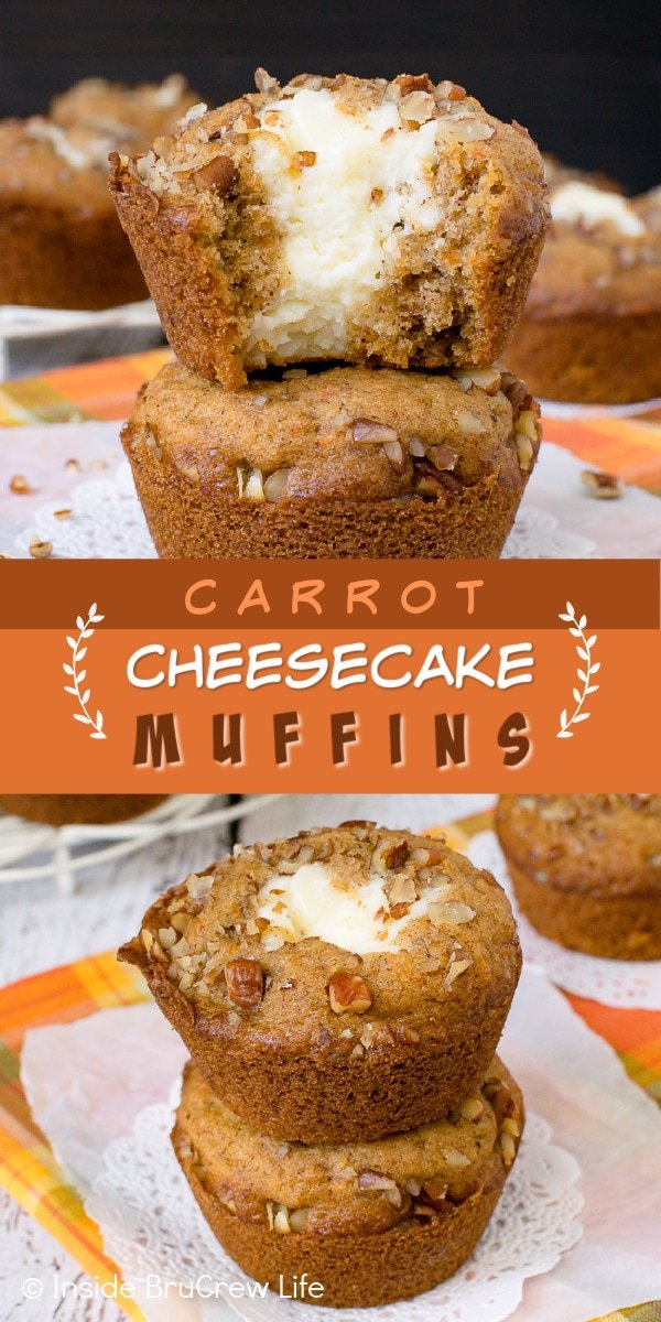 Two pictures of carrot cheesecake muffins collaged together with an orange and brown text box