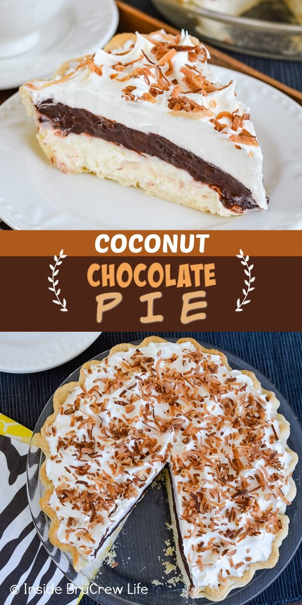 Two pictures of Coconut Chocolate Pie collaged together with a brown text box