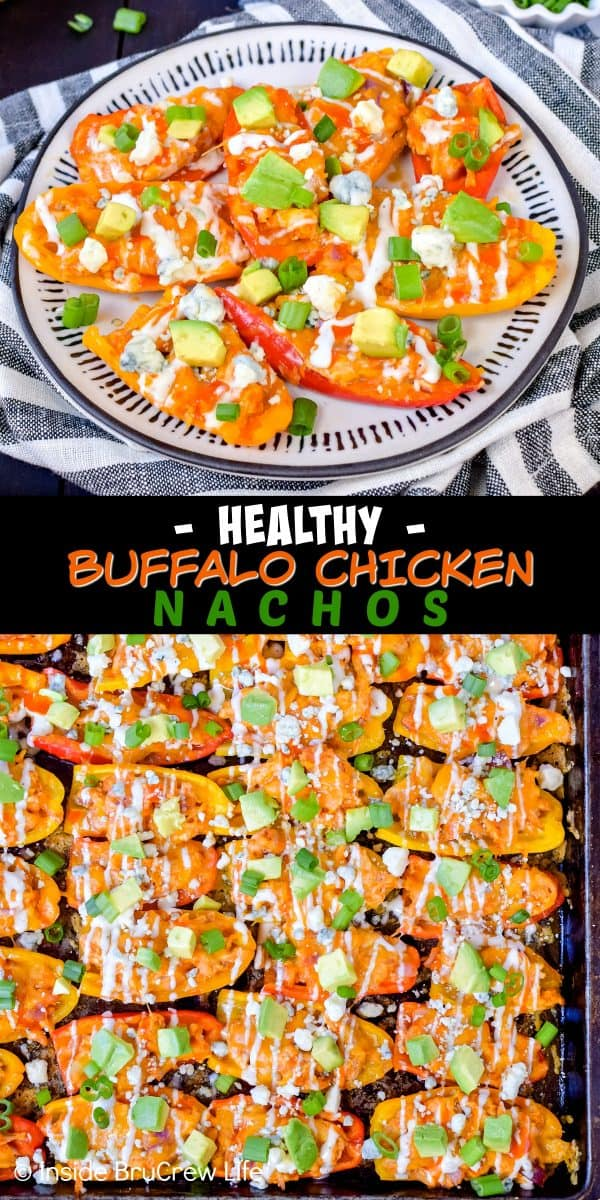 Buffalo Chicken Pepper Nachos - this easy sheet pan appetizer is made with mini peppers, buffalo chicken, and cheese. Great low carb option for game days or parties! #buffalochicken #lowcarb #appetizer #healthy #sheetpanmeal