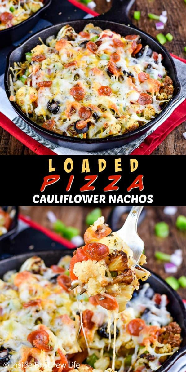 Loaded Pizza Cauliflower Nachos - make healthy nachos by topping roasted cauliflower with cheese and your favorite pizza toppings. Make this easy recipe when you need a low carb meal! #pizza #cauliflower #healthy #leanandgreen #healthynachos #lowcarb