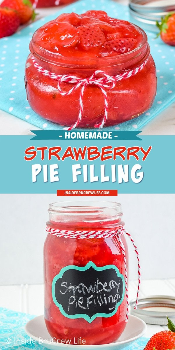 Two pictures of strawberry pie filling collaged together with a teal text box.