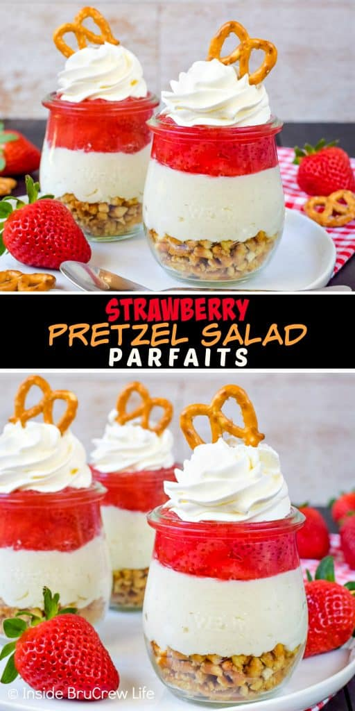 Strawberry Pretzel Salad Parfaits - layers of pretzels, no bake cheesecake, and strawberry pie filling make these little parfaits a fun and delicious treat! Make this easy recipe for dessert tonight! #strawberry #pretzelsalad #nobake #cheesecake #homemadepiefilling #smalldesserts