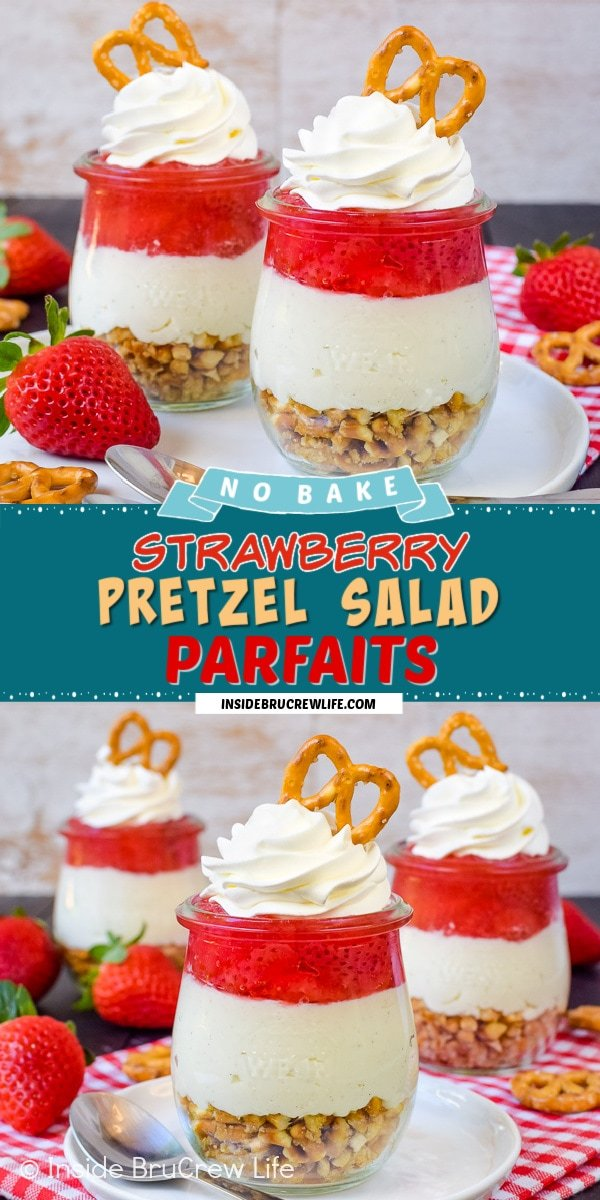 Two pictures of strawberry pretzel salad parfaits collaged together with a dark teal text box.