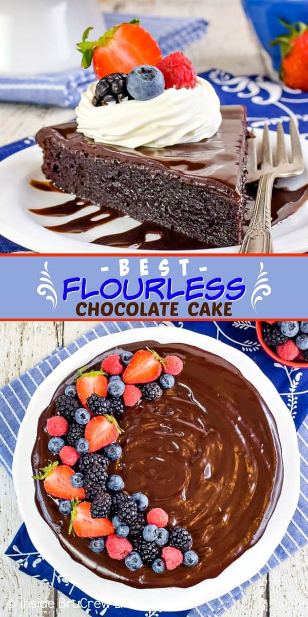 Best Flourless Chocolate Cake - a layer of chocolate and fresh berries makes this flourless chocolate cake look and taste amazing! Try this easy cake recipe for the chocolate lovers in your life! #chocolate #flourless #chocolatecake #easyrecipe #glutenfree