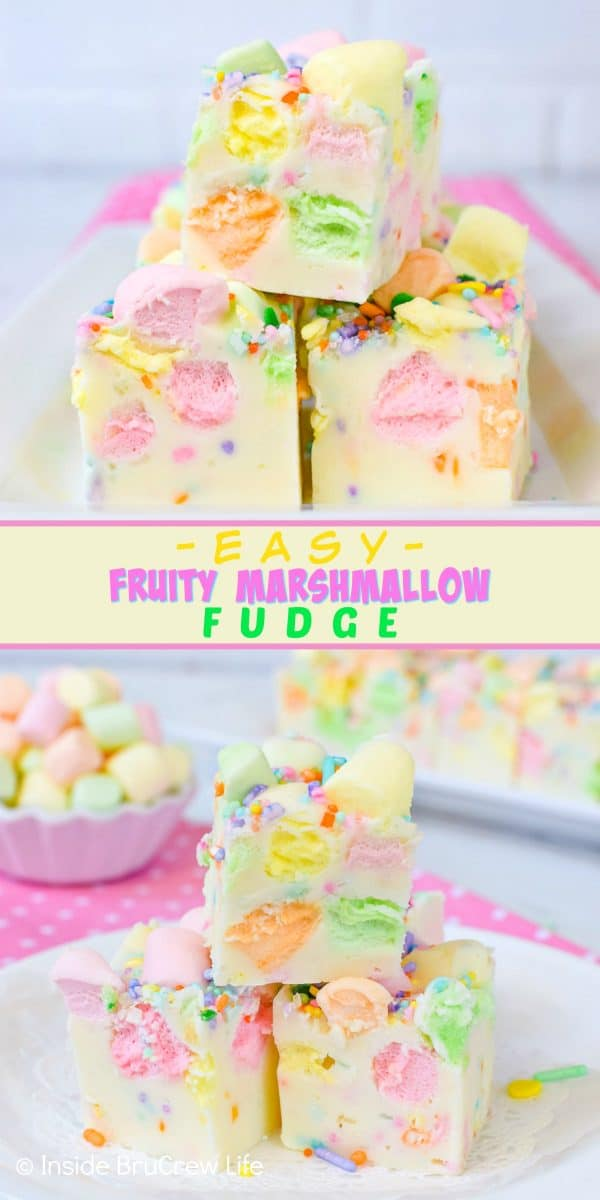 Easy Fruity Marshmallow Fudge - sprinkles and colorful marshmallows add a fun pop of color to this two ingredient fudge. Try this easy fudge recipe for spring parties! #easter #twoingredientfudge #fudge #whitechocolate #fruitymarshmallows #easterfudge