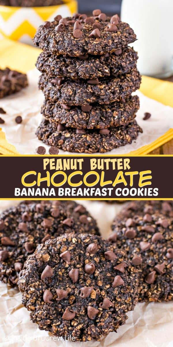 Peanut Butter Chocolate Banana Breakfast Cookies - enjoy cookies for breakfast when you make these healthy banana cookies. Great recipe to make when you have extra ripe bananas on the counter! #healthy #banana #breakfastcookies #peanutbutter