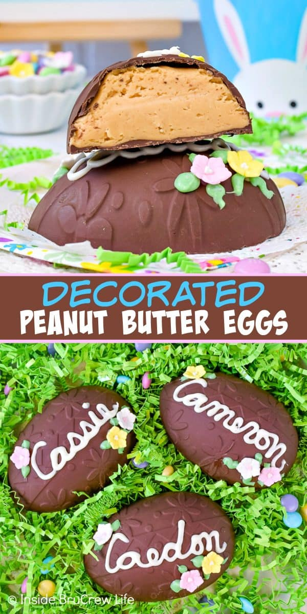 Decorated Peanut Butter Eggs - these fun homemade peanut butter eggs are covered in dark chocolate and decorated with candy flowers and a name. Make these fun no bake treats for your Easter baskets or parties! #easter #peanutbutter #chocolate #nobake #homemade #eggs