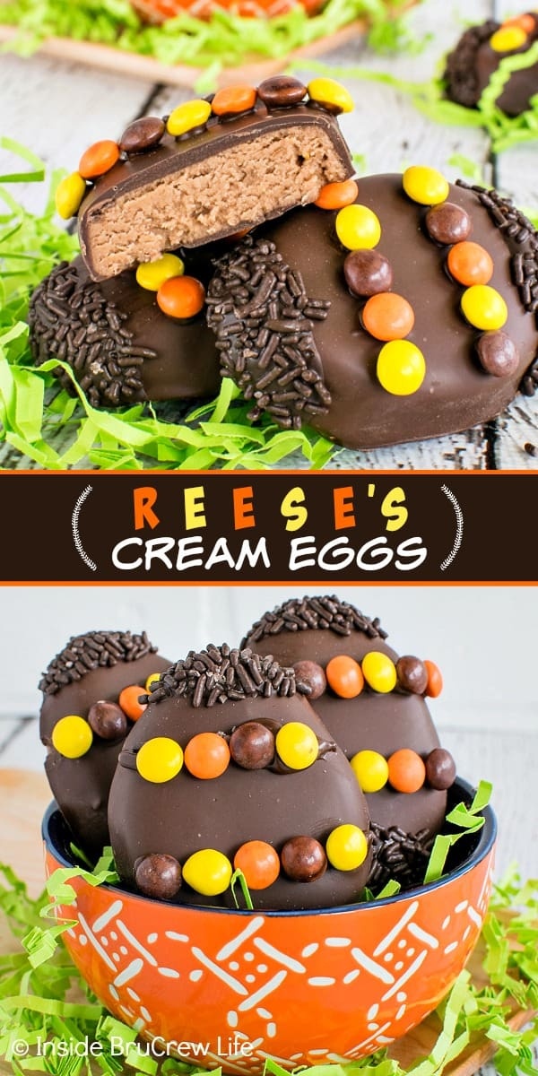 Reese's Cream Eggs - a creamy peanut butter filling dipped in chocolate is a fun treat to shape into homemade candy eggs. Make and decorate this easy recipe for Easter baskets.
