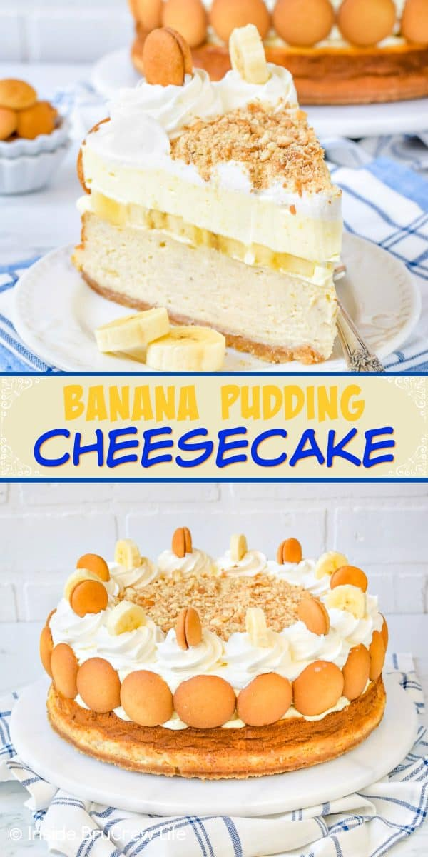 Banana Pudding Cheesecake - layers of creamy banana cheesecake and banana pudding makes this full sized cheesecake an impressive dessert. Try this delicious recipe for dinner parties and events! #cheesecake #banana #bananapudding #cheesecakelove