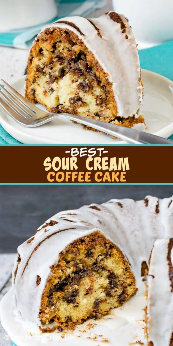 Best Sour Cream Chocolate Chip Coffee Cake - swirls of cinnamon sugar and chocolate chips make this the best coffee cake! This is a great recipe to make for breakfast or brunch. #breakfast #coffeecake #bundtcake #recipe #brunch
