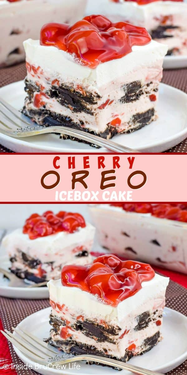 Two pictures of Cherry Oreo Icebox Cake collaged together with a pink text box