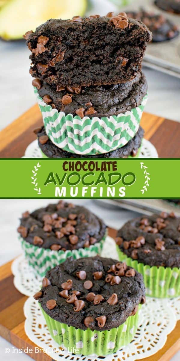 Chocolate Avocado Muffins - two times the chocolate and yogurt makes these chocolate muffins so rich and fudgy! Make this awesome and healthy recipe for breakfast or brunch! #chocolate #muffins #avocado #breakfast