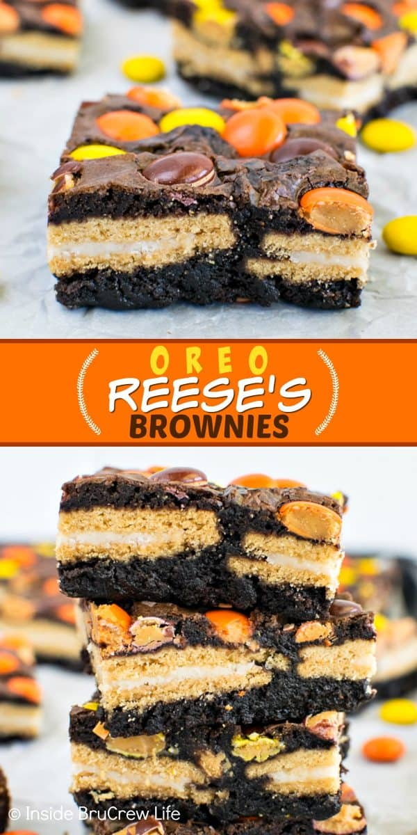 Oreo Reese's Brownie Bars - adding cookies and candies to these fudge brownies will make them disappear in a hurry. Make this easy recipe when you need a fun dessert! #brownies #Oreos #reesespieces #easy #dessert