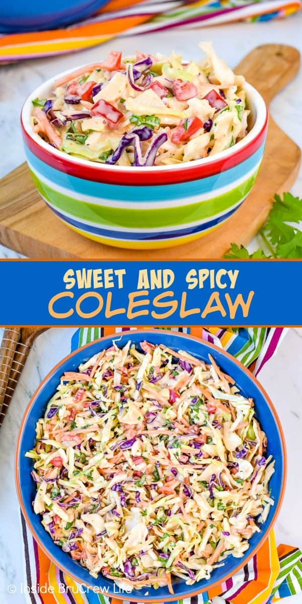 Sweet and Spicy Coleslaw - the honey and Sriracha dressing added to this easy coleslaw gives it a great sweet and spicy flavor. Make this easy recipe to serve with fish or pork dinners! #coleslaw #sweetandspicy #sriracha #honey #summer #potluck
