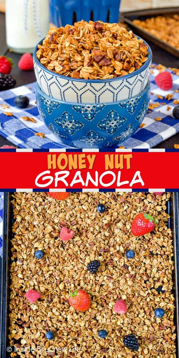Honey Nut Granola - this homemade granola is full of honey and nuts. It's an easy recipe to make for breakfast. Enjoy it with milk, yogurt, or chia pudding! #granola #homemade #breakfast #snackmix #honeynut