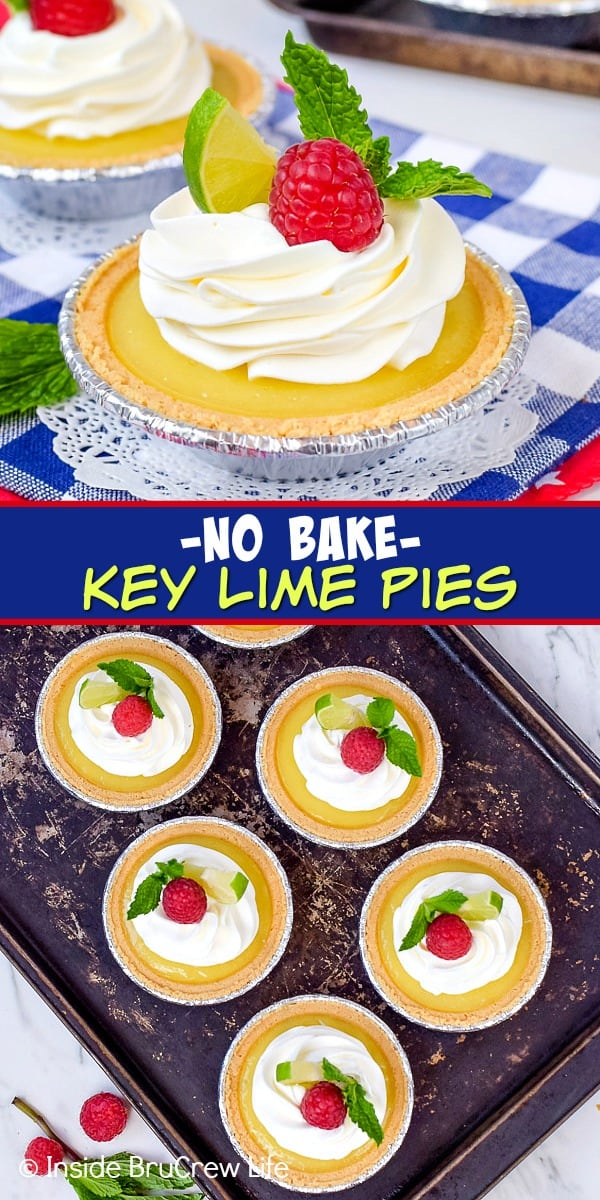 No Bake Mini Key Lime Pies - these sweet little no bake pies have homemade key lime curd, whipped cream, and fresh berries in a graham cracker crust. Easy recipe to make for summer parties! #nobake #keylime #keylimepie #easyrecipe #pie #keylimecurd