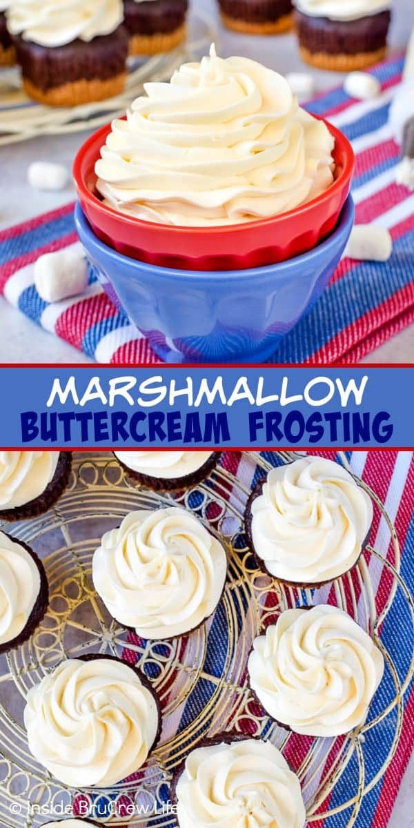 Marshmallow Buttercream Frosting - this creamy homemade buttercream frosting is made with marshmallow fluff and heavy cream. This easy recipe is perfect for cupcakes, cakes, and cookies! #frosting #marshmallow #buttercream